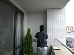 外壁面の打診調査の様子