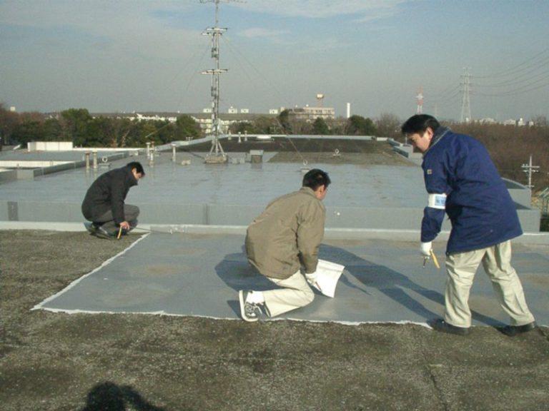 屋上の防水現況を確認する人々